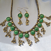 Flirty ETHNIC Silver Tribal Dangling Tribal Green Gem Necklace/Earrings