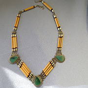 Dainty ETHNIC Filigree Green Agate Bamboo Silver Necklace