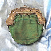 Lovely Ornate Engraved Sterling Silk Antique Coin Purse