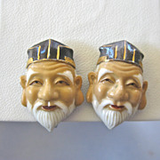 TOSHIKANE Porcelaine Japanese Noh Mask Earrings - Ancient Wise Man