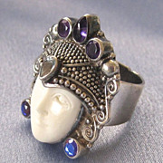 Large Sterling Carved Bone Face Gem Ring