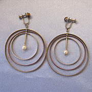 Large MidCentury Mobile TriMetal Hoop Earrings