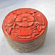 Vintage Chinese Silver CINNABAR Trinket/Pillbox