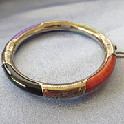 Chinese Multi Color Sterling Jade Bangle