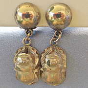 Vintage Chunky Sterling Egyptian Amulet SCARAB Earrings