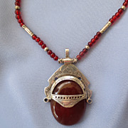 Tribal TUAREG Carnelian Silver Mask Pendant Necklace