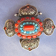 Impressive Large TIBETAN Sterling Coral/Turquoise Prayer Box