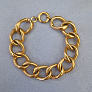 SALE Oversized Curb Link Old Gold Filled Bracelet