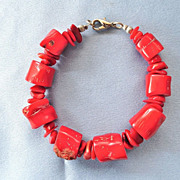 SALE Chunky Organic Red Coral Bracelet