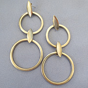 SALE Large Stylish Modernist Double Hoop Earrings - 3-1/2""