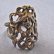 SALE Sterling Flowing Art Nouveau Style Figural Ring