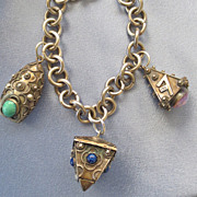 Chunky Silver ETRUSCAN Charm Bracelet