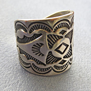 Wide Sterling Deeply Stamped Native American Band/Ring