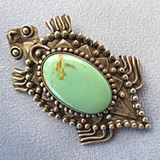 Stylized Sterling Turquoise Frog Pin