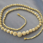 Old Elegant Long Graduated Mother Of Pearl Bead Necklace -33&quot;
