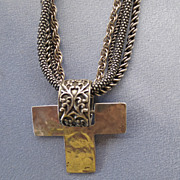 Chunky Hammered Cross 4-Chain Necklace