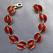 David Andersen Enamel Sterling RED Leaf Bracelet