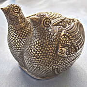 Vintage KHMER 900 Repousse Silver Nesting Double Bird Box
