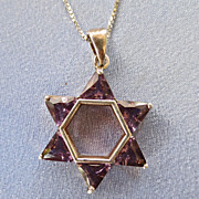 Modernist Amethyst Sterling Star of David/Chain