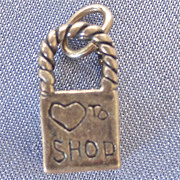 Love to Shop Bag Sterling Charm