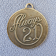 Retro Always 21 Round Sterling Charm
