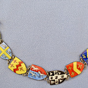European Linked Enamel Travel Shield Bracelet
