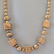 Sterling Stamped Square/Round Native American Bead Necklace