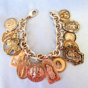Chunky Loaded Large Sterling Religious Medal Charm Bracelet
