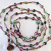 Long Turquoise Amethyst Crystal Seed Bead Necklace - 46""