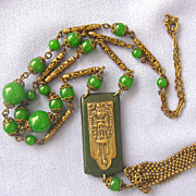 Long Dangling Faux Jade Celluloid DECO Necklace