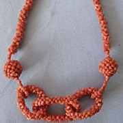 SALE Victorian Woven Coral Love Knot Necklace