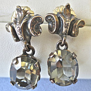 SALE Cini Style Sterling Dangling Grey Glass Earrings