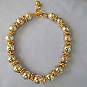 Chunky 80s Anne Klein Large Silvertone Bead/Goldtone Necklace