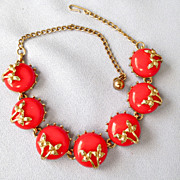 Flirty Retro Red Enamel Linked Necklace