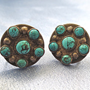 Old Pawn Round Sterling Turquoise Earrings