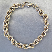 Long Chunky Sterling Wheat Chain Bracelet - 8""