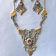 SALE Ornate Sterling, 22k Gold Amethyst Filigree Necklace/Earrings