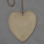 HUGE Sterling Heart Pendant/Wheat Chain