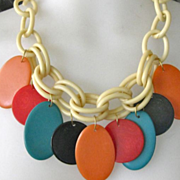 SALE Colorful Chunky Dangling Early Plastic Necklace