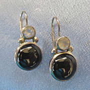 SALE Sterling Faceted Moonstone Black Onyx Earrings