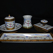 Hand painted porcelain desk set � inkwell, dish, blotter, pen holder