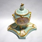 Late 19th century lady�s inkwell with hand painted cherubs
