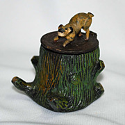 Figural cold painted pot metal inkwell � stump with dog