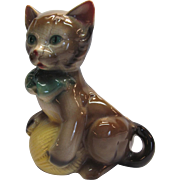 Vintage Royal Copley Whimsical Kitten Planter With Yarn Ball