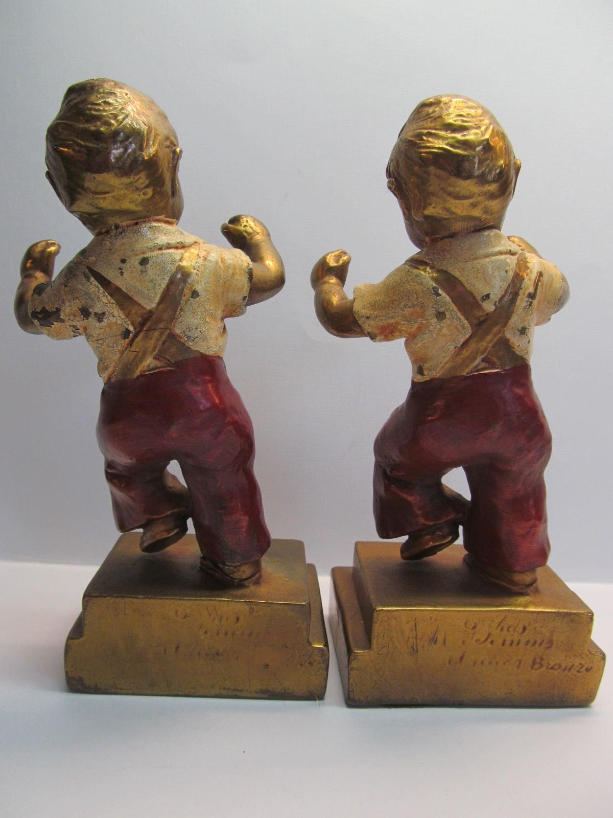 Charles jennings bookends boys jumping armor bronze 1920 c from artgate on ruby lane - Armor bronze bookends ...
