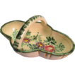Vintage Salt Glaze Floral Pottery Basket with Handle Made in Italy