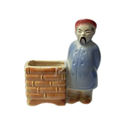 Old Oriental Man With Basket Pottery Planter