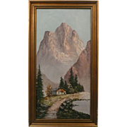 Original Oil On Canvas Landscape Scene Signed by Flower