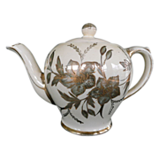 Old Sadler Teapot With Floral Design And Gold Gilding