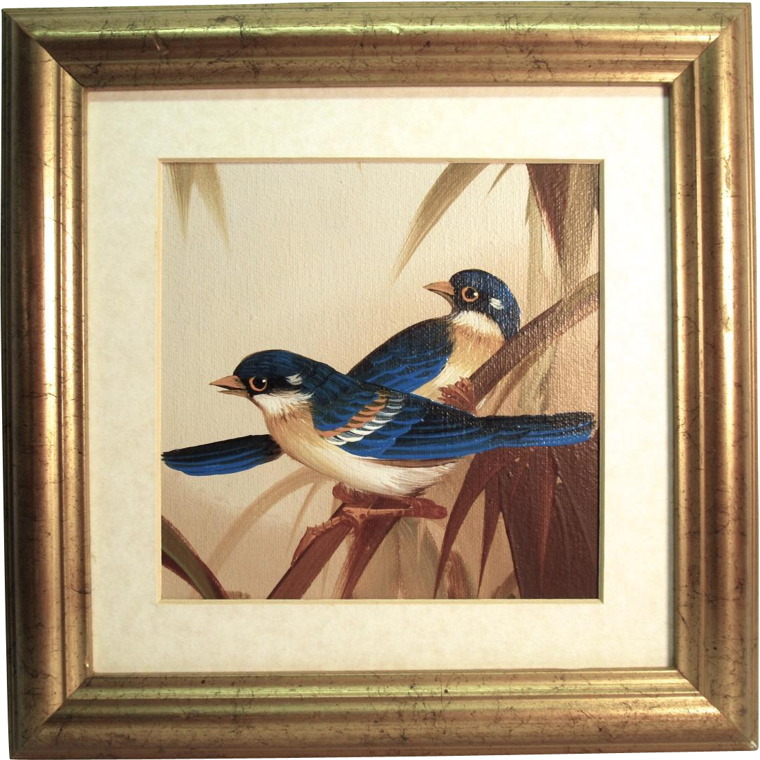 small oil on canvas sheet painting of birds unsigned from